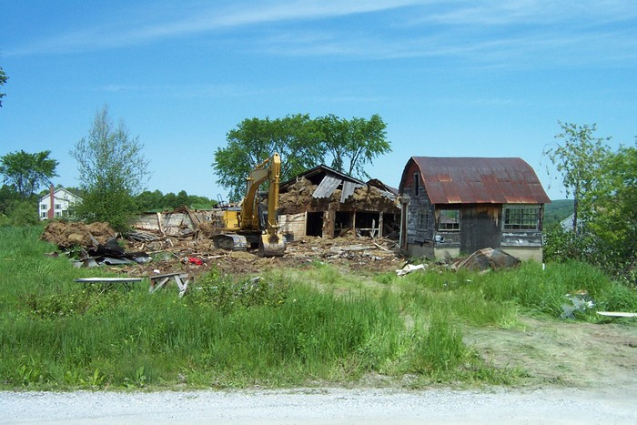 Larry Young is in the process of tearing down the Old Clesson Billado Barn - dcp 8039