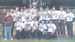 Members of the BFA-Fairfax baseball team, the state Division III champs, pose with their hardware after their 13-0 win over Williamstown at UVM's Centennial Field on Saturday night. - This photo taken by Shawn Corrow, St. Albans Messenger was scanned from the newspaper and in no way reflects the quality of Shawn's work -