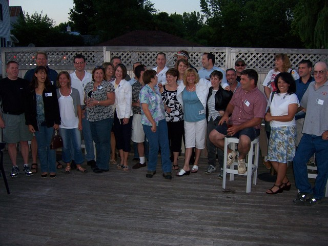 From Left to Right In the Back: John Rock, Chad Conger, Nate Lavoie, Joan (Ovitt) Sweet, Kelly Sweet, Chris Loso, Glen Stafford, Jody Braun, Glenn Minor, Tim Madden, Terry (Fanton) Briant, Dan Barrows - In the Front: Lea Edwardsen, Jennifer (Young) Lenihan, Robynn (Horr) Moore, Nicole (Thibault) Berzins, Mark Gregoire, Chris Carnes, Cheryl (Cote) Letourneau, Mary Kay Raymond, Bonnie Nichols, Robin Gilmond, Mike Jenkins, David Shea, Jinny (Janesik) Duncan, David Toof - Class of 1988 Bayside 07042008