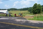 Don, DJ & Brian are shown above working on this hot July day preparing the base for the new Comette Road exit