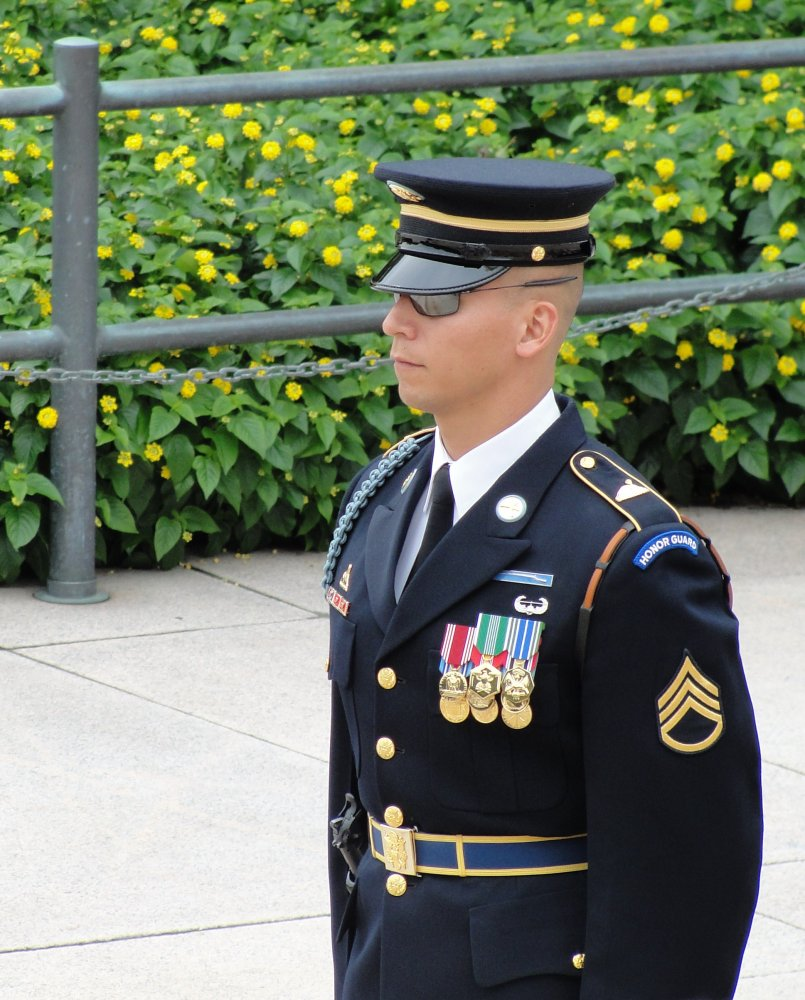 The appearance of these young soldiers is amazing.  I have taken a video of the changing of the guard and will post on You Tube Soon - soldier at the tomb
