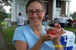 Barb Murphy displays a special strawberry Orman Ovitt picked from his strawberry patch especially for her - 2007-06-24 001