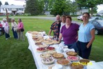 Our pie servers, Bob & Kathy Bessette, Margie Cain and Barb Murphy are ready to go - 2007-06-24 002