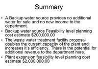 Highlight for album: Waste Water &amp; Backup Water Source Presentation - December 1, 2007