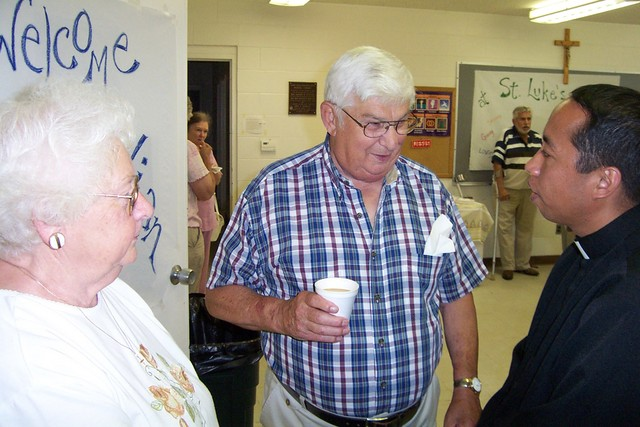 Joe & Cecille Rainville chat with Father Julian - 2008-07-06 003