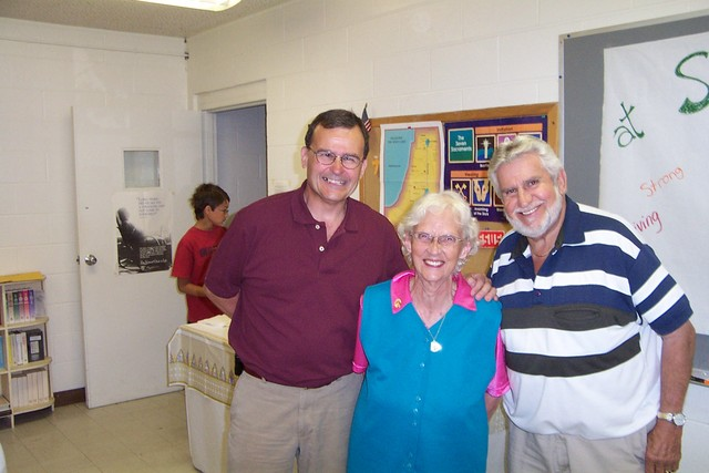 Steve Minor, Theresa Raymond and Gilles Rainville enjoy themselves at Father Julian's reception - 2008-07-06 012