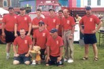 2004 Vermont Teddy Bear Fireman's Muster Champions - Back Row - Mike Cain, Kyle Magnusson, Jordan Hayes, Jesse Fleming, Ivan Patry, Chief Jim Field, Dean Potter - Front Row - Justin Hayes, David Toof, Tom Crucitti (Photo by Brenda Potter)