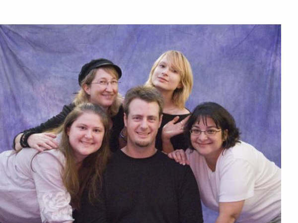 *Cast photo (L to R): Amada Bryan, Carol Graves, Bob Martin, Hillary Loggins, Lisa Steele.  (This photo credit Carol Graves; all others credit Linda Horner) - Cast Photo