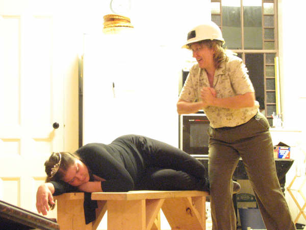 Amanda Bryan (laying down) and Carol Graves rehearse a scene from Snow White. - Grimm 6