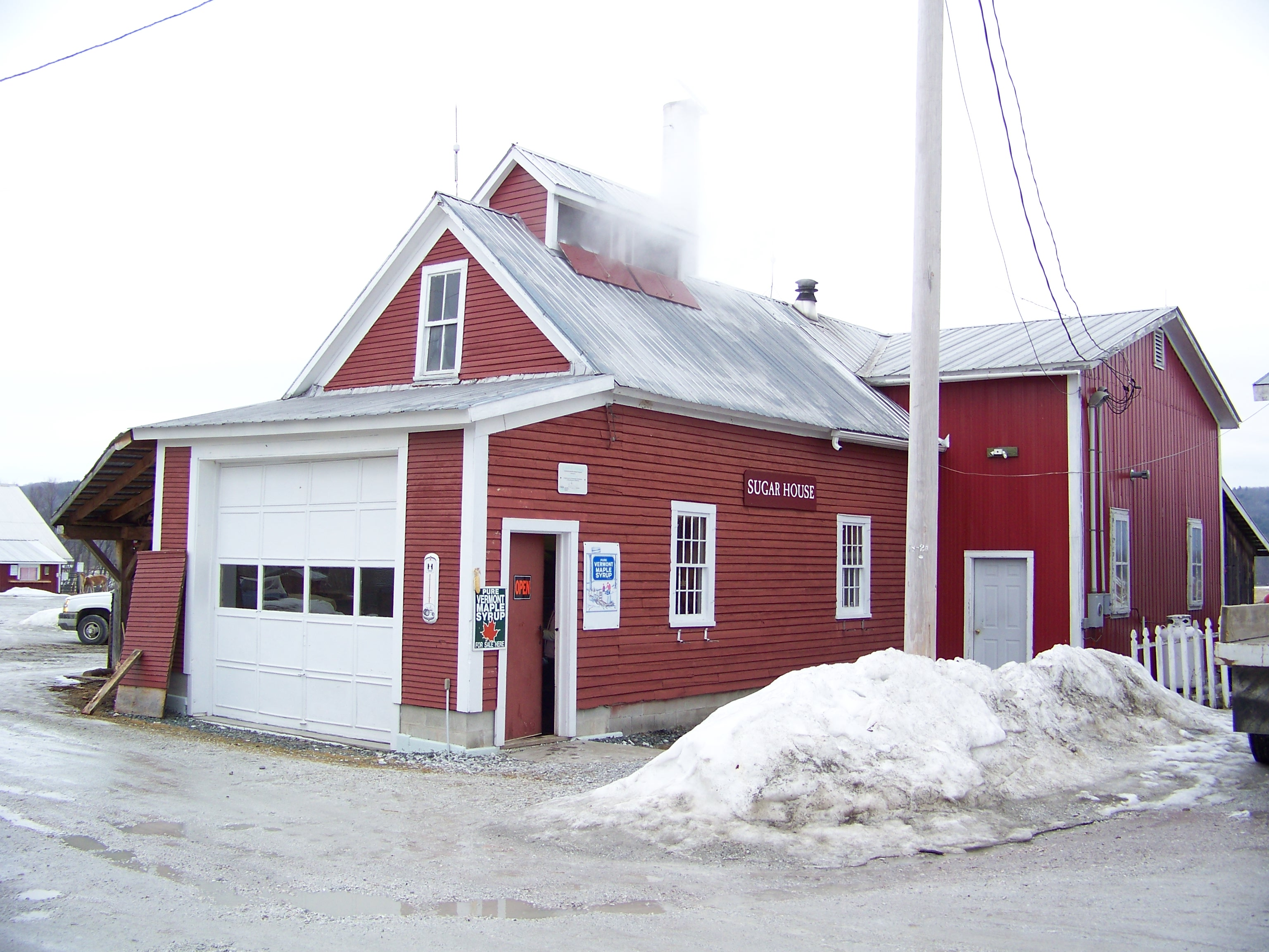 Fred & Diancy (Montague) Boyden's sugar house at the junction of Route 104 & 15 in Cambridge - jwboyden004