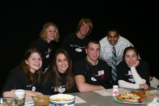 Food, glorious food! National Honor Society members were on hand to   serve up soup, sandwiches, pizza, salads and desserts to everyone who   gave blood during the recent BFA Fairfax Red Cross blood drive. Local   Fairfax merchants who donated food included Nan's Quick Stop and   Foothills Bakery. Front row seated, L to R: Samantha Schraven, Courtney Duncan, Ben   Langelier, Olivia Root. Back row standing, L to R: Brittany Sweet, Grayson Crounse, Amit Saini - IMG 0664