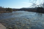 Looking down the Lamoille River from the bridge just South of The Steeple Market