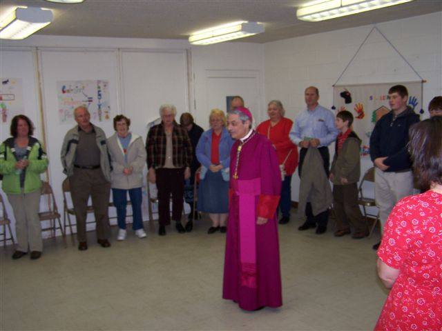 Helen Hartman, John Rainville, Jean Gregoire, Betty Parker, Fern Rainville, Betty Morgan, Bishop Matano, Cathy Mongeon, Guy Vanzo, Joey Langelier & Bridget Morgan - Bishops visit 005