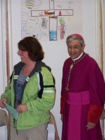 Helen Hartman & Bishop Matano - Bishops visit 006