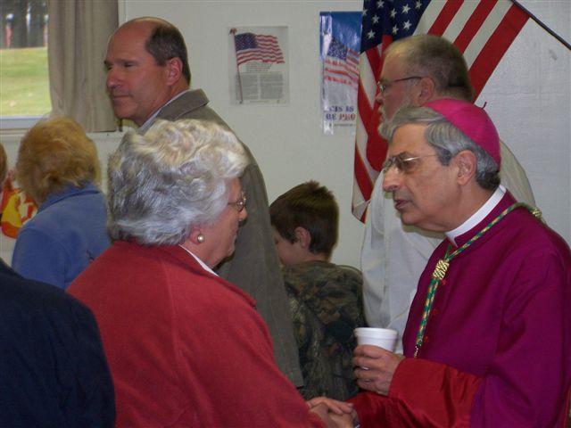 Alice Collins talks with Bishop Matano - Bishops visit 012