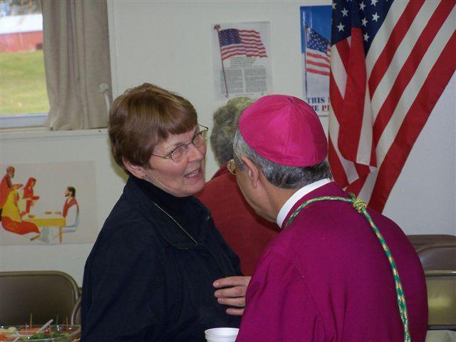 Fern Rainville & Bishop Matano - Bishops visit 015
