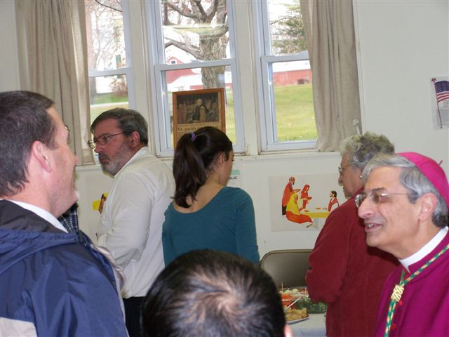 Jim Hogan talking with Bishop Matano - Bishops visit 016