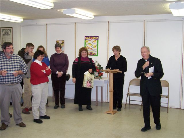 Pete Fitzgerald, Jim Minor, Bridget Morgan, Karen Minor, Mary Beth Redding, Jeannette Wills and Father Feltz - 100 2051