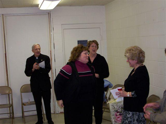Father Feltz, Mary Beth Redding, Jeannette Wills & Mary McDevitt - 100 2058