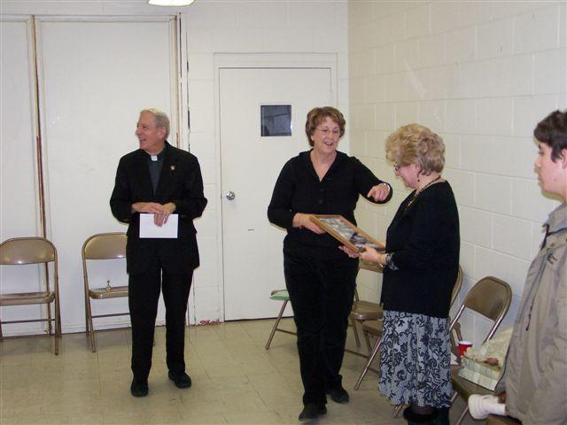 Father Feltz, Jeannette Wills, Mary McDevitt and Casey Morgan - 100 2060