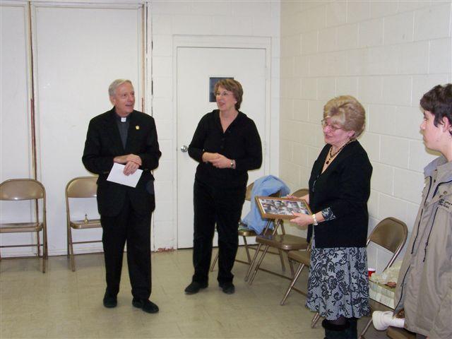 Father Feltz, Jeannette Wills, Mary McDevitt and Casey Morgan - 100 2061