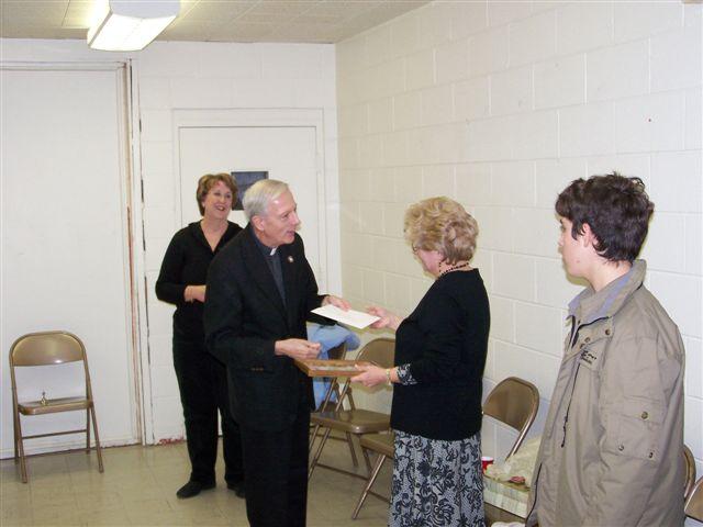 Jeannette Wills, Father Feltz, Mary McDevitt and Casey Morgan - 100 2062