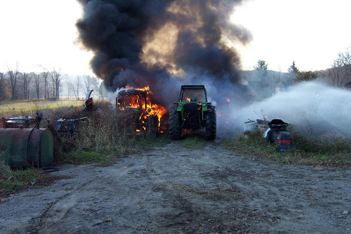 Two tractors were fully engulfed as well as the remainder of the tool shed - 2007-11-10 004