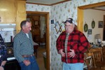 Brian King & Roger Geno visit in the kitchen (My wife Maryann thought Roger had lost weight)
