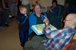 John & Marge Ellsworth's daughter Beth made her grandfather's 90th Birthday Cake -- Ralph thanks his great-grandson for help in blowing out the candles
