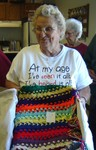 Mildred Warren with an afghan she won - senior03 070904