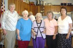 Members of the board of the Fairfax Friendly Neighbors Seniors group:   (from left) Cary Parsons; Joyce Harris; Rita Bessette (secretary); Joyce Barkyoumb (president) and Elaine Kirkpatrick (vice president) gather at Fairfax Fire and Rescue Station for the twice-monthly meal. -  senior05 070904