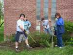 Kyle Racine, Karen Fitzgerald, ?, Faith Cross - St. Lukes Church cleanup 032