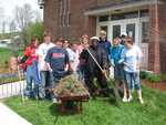 Roberta Machia, Zach Machia, Joey Langelier, Bridget Morgan, Casey Morgan, Jeannette Wills, Father Rome, James Minor, Allie Minor, Julie Minor, and Caitlin Minor - Photo Taken By Karen Minor and Steve Minor - St. Lukes Church cleanup 071