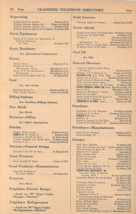 Classified Telephone Directory - 1938 - Page 52 - Expressing to Garages