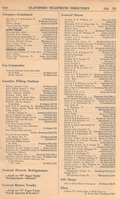 Classified Telephone Directory - 1938 - Page 53 - Garages - Continued to Glass