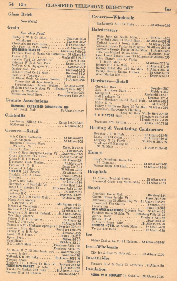 Classified Telephone Directory - 1938 - Page 54 - Glass Brick to Insulation