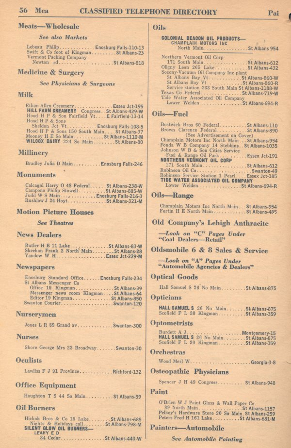 Classified Telephone Directory - 1938 - Page 56 - Meats -- Wholesale to Painters -- Automobile