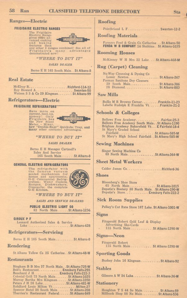 Classified Telephone Directory - 1938 - Page 58 - Ranges --- Electric to Stationery